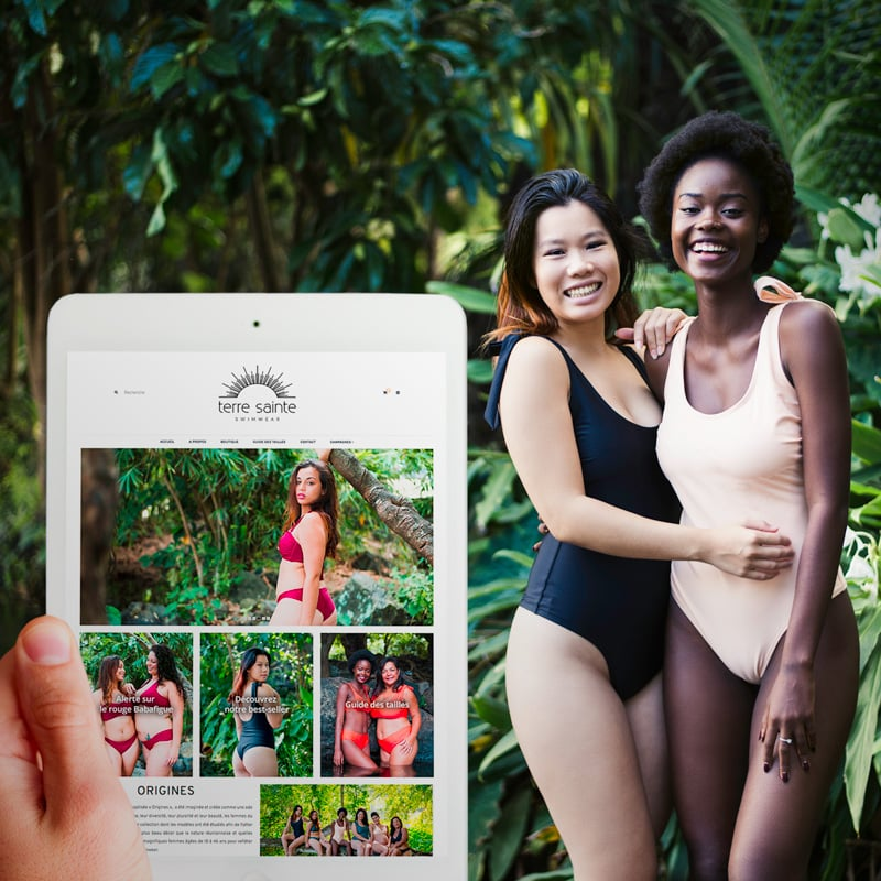 réalisation de l'agence web Réunion: création  du site boutique en ligne de l'entreprise et marque terre sainte swimwear